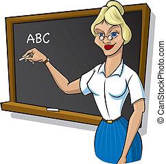 maestra, delante de, blackboa