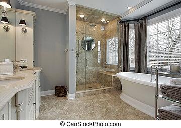 maestro, baño, con, vidrio, ducha
