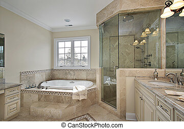 maestro, baño, con, vidrio grande, ducha