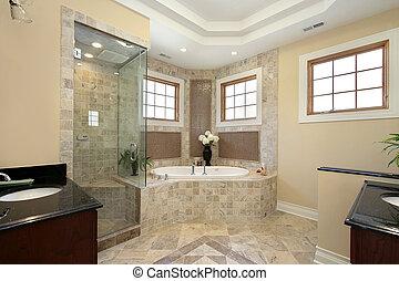 maestro, baño, en, nuevo, construcción, hogar