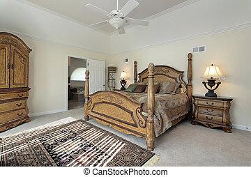 maestro, camera letto, con, legno, mobilia