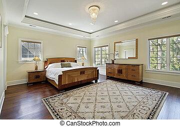maestro, dormitorio, con, bandeja, techo