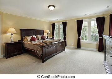 maestro, dormitorio, con, caoba, muebles