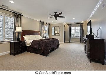 maestro, dormitorio, con, oscuridad, madera, muebles