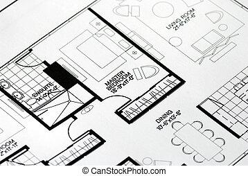 maestro, dormitorio, enfocado, plan, piso