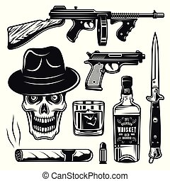 Mafia and gangsters set of objects or elements