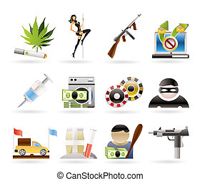 mafia and organized criminality activity icons - vector icon...