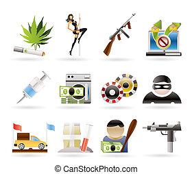 mafia and organized criminality activity icons - vector icon...
