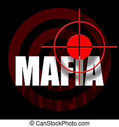 Black background with bloody red target and mafia inscription
