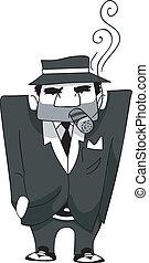 mafia, cigarro, hombre