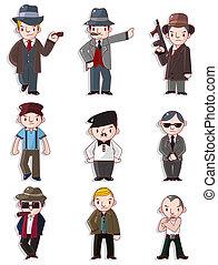 mafia, conjunto, caricatura, icono