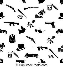 mafia criminal black symbols and icons seamless pattern eps10