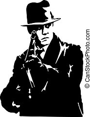 mafia - man in a black suit and a hat with a gun in his hand