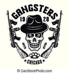 Mafia emblem gangster skull in hat with two guns