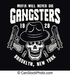 Mafia emblem with gangster skull in fedora hat
