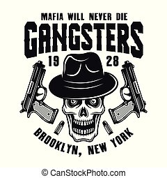 Mafia emblem with gangster skull in hat on white