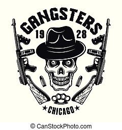 mafia, emblema, gángster, cráneo, en, sombrero, con, dos, armas de fuego