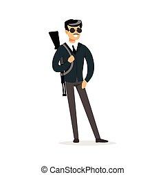 mafia, hombre, carácter, en, gafas de sol, con, un, arma de fuego, en, el suyo, hombro, vector, ilustración