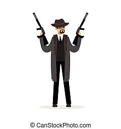 mafia, hombre, carácter, en, gris, chamarra, y, sombrero de sombrero de fieltro, tenencia, dos, submachine, armas de fuego, vector, ilustración