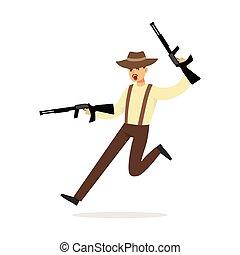 mafia, hombre, carácter, en, marrón, sombrero de sombrero de fieltro, corriente, con, dos, submachine, armas de fuego, vector, ilustración