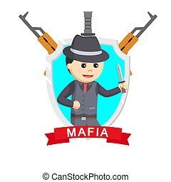 mafia knife emblem design vector illustration