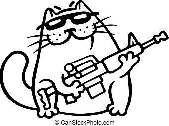 mafia, lucha, gato, con, un, fusil submachine