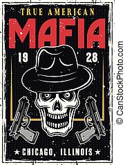 Mafia or gangsters poster with bandit skull in hat