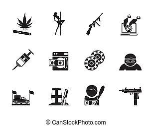 mafia, organized criminality icons - Silhouette mafia and...