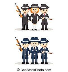 mafia people set illustration design