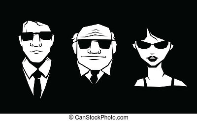 Mafia peoples - Three person in glasses and suit. Vector.