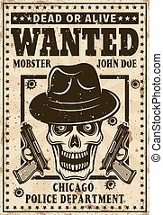 Mafia poster in vintage style with mobster skull