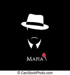 Mafia - Italian Mafioso. Illustration Man with a hat,...