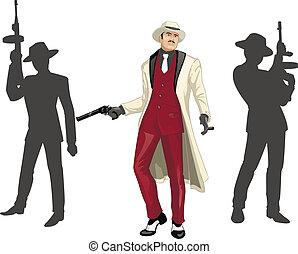 mafioso, siluetas, asiático, godfather, tripulación