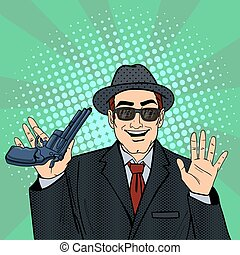 Mafioso with Gun. Retro Mafia Man. Pop Art Mafia Boss. Vector illustration