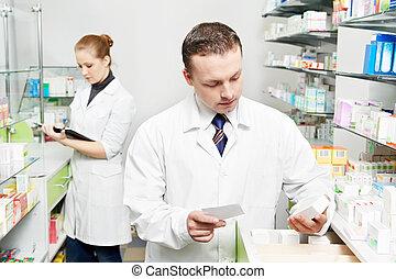 magabiztos, ember, drogéria, vegyész, gyógyszertár