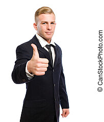 magabiztos, fiatal, businessman.