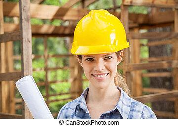 magabiztos, női, építészmérnök, fárasztó, sárga, hardhat, -ban, házhely