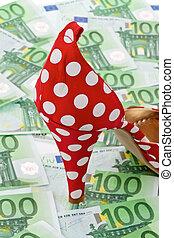 magas, banknotes, hölgyek, dönt, euro