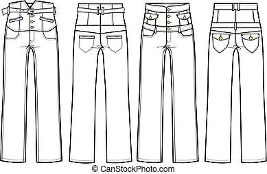 magas, cajgvászon jeans, derék
