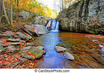 magas, fénykép, dinamikus, vízesés, ősz, lőtávolság,...