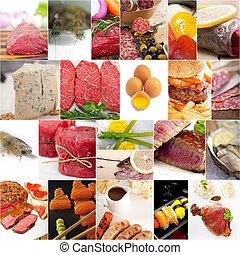 magas, fehérje, élelmiszer, gyűjtés, kollázs