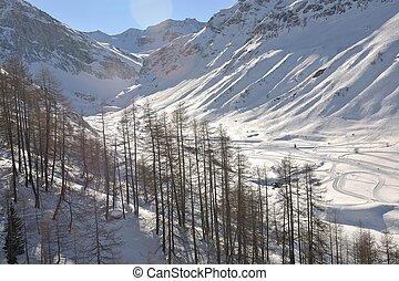magas hegy, alatt, hó, alatt, a, tél
