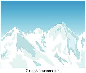 magas hegy, alatt, tél