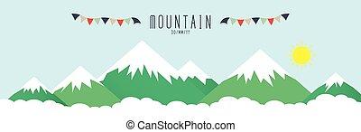 magas hegy, befedett, által, snow.