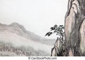 magas, hegy, festmény, kínai