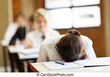 magas, izbogis, csalódott, diák