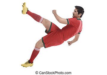 magas, játékos, labdarúgás, megrúg, labda