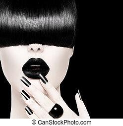 magas mód, fekete-fehér, formál, leány, portré
