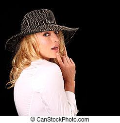magas mód, nő, noha, kalap