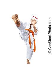 magas, megrúg, előmozdít, van, szívverés, karateka, alatt, karategi